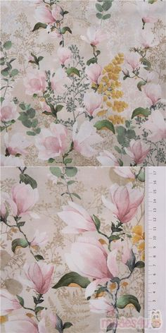 natural color cotton fabric with pink and white magnolias, lush green leaves, dark yellow fronds etc., Material: 100% cotton, Fabric Type: smooth cotton fabric #Cotton #Flower #Leaf #Plants #USAFabrics