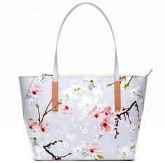 Ted Baker bags Oriental Blossom print Leather Two top handles Top zip fastening Metallic trims Ted Baker branded