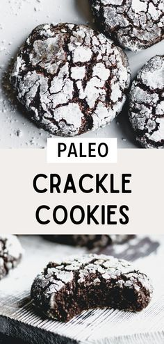 This paleo crinkle cookie recipe is rich, fudgy, and totally delicious. These holiday crinkle cookies are gluten free, paleo, and dairy free! Your friends and family will love them - they're perfect for a cookie gift exchange or special occasion. These are also called paleo crackle cookies. Paleo chocolate cookies are easy to make. Don't forget to pin these easy chocolate cookies to your Christmas cookie recipes board! #simplyjillicious #paleo #dairyfree #glutenfree #christmas #chocolate