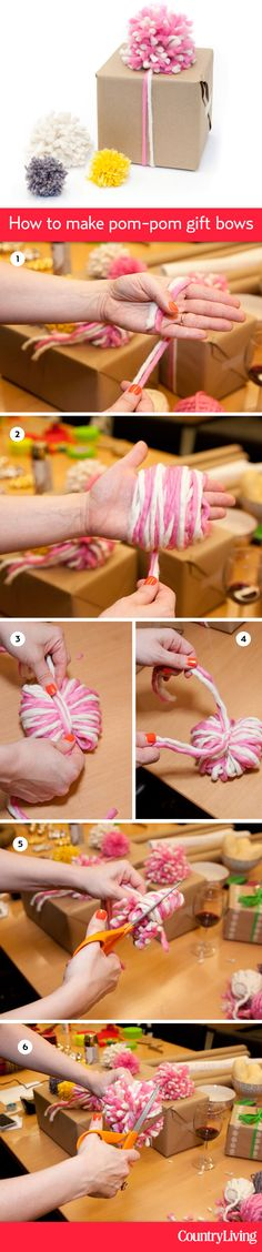 Brett Bara shows us how to make fun pom-pom gift bows out of yarn: http://www.countryliving.com/crafts/how-to-make-pom-pom-gift-bows     #pinspirationparty