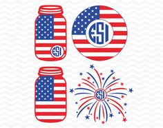 Mason jar, circle monogram frame, July 4th, vinyl cut files, SVG,, DXF, EPS, for use with Silhouette Studio & Cricut Design Space by ESIdesignsdigital