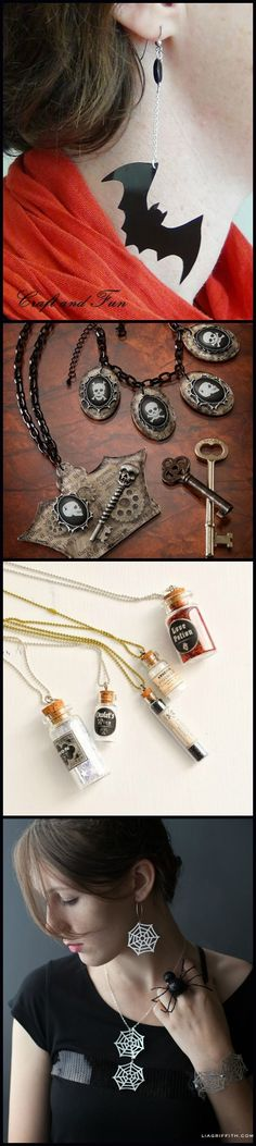 I love crafting for Halloween, and I especially love making Halloween jewelry! It's fun to make something glitzy and festive to wear. Check out these DIY homemade ideas including necklaces, rings, bracelets, and more. Some are creepy, some are vintage themed.  via @diy_candy