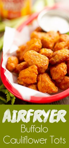 Airfryer Buffalo Cauliflower Tots are a light and easy low carb appetizer made with just 2 ingredients! Crispy frozen cauliflower tots are tossed in a spicy buffalo sauce for a healthy game day snack or side dish. Frozen Cauliflower Recipes, Califlower Recipes, Spicy Cauliflower, Buffalo Cauliflower, Low Carb Appetizers, Easy Appetizer Recipes, Yummy Appetizers, Dinner Recipes, Vegetable Side Dishes