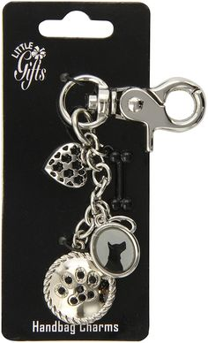 LittleGifts Black Crystal Paw Keychain and Charm Set ** Review more details here : Cat accessories