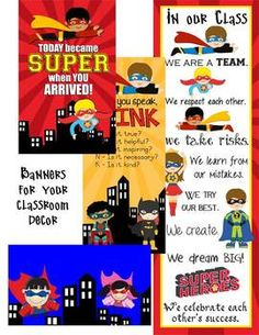 SUPER Hero - Classroom Decor - binder covers, banners, pos