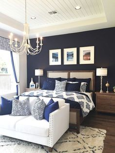 Navy Blue Bedrooms, Blue Master Bedroom, Blue Bedroom Walls, Blue Bedroom Decor, White Bedroom Furniture, Master Bedroom Design, Bedroom Colors, Home Bedroom, Neutral Bedrooms
