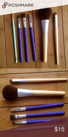 Full makeup brush set! Gently used! All in perfect condition! 1 eye liner brush, 3 eye shadow brushes, 1 lip brush, and 1 blush brush!  Eco Tools! Makeup Eyeliner