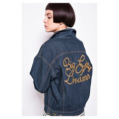 FRS Oversized Blue Denim Jacket with Back Embroidery (145 BAM) ❤ liked on Polyvore featuring outerwear and jackets