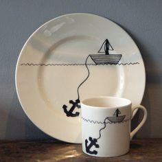 hello sailor cake plate & mug