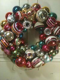 Shiny Brite Vintage Glass Ornament Christmas Wreath Divine Stripes