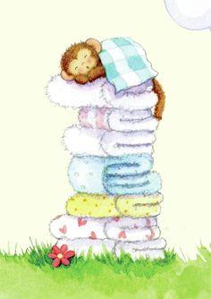 Cute illustrations - Gail Yerrill - Monkey On Towels Sleeping
