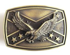 Bronze Confederate Rebel Flag w Eagle Western Metal Fashion Belt Buckle   eBay