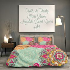Boho Chic Bedding Duvet Cover Set Coral Turquoise by FolkandFunky