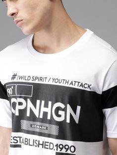 Buy Moda Rapido Men White & Black Printed Round Neck T Shirt - Tshirts for Men 4331703 | Myntra