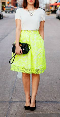 Neon Lace + White Tee
