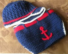 crochet nautical  hat  | Crochet / Crocheted Baby Sailor Set Diaper Cover & Hat by ...