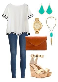 """Untitled #223"" by vineyard-vines-love ❤ liked on Polyvore featuring Kendra Scott, J.Crew, Gianvito Rossi and Michael Kors"