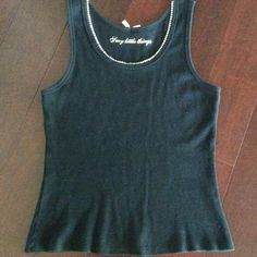 Victoria Secret Sexy Little Things Tank Top Black with Rhinestones around neckline.    Size M/L.     Preowned.    96% Cotton, 4% Spandex Victoria's Secret Tops Tank Tops