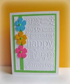 Cbug Happy Birthday E F, use my SU Flower Shop/Pansy punch and Petit Petals/Petite Petals punch for flowers (or Cricut) (July Birthday Cards For Women, Handmade Birthday Cards, Female Birthday Cards, Making Greeting Cards, Greeting Cards Handmade, Bday Cards, Cricut Cards, Embossed Cards, Flower Cards