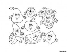 Apple Watermelon Strawberry Banana Grape coloring pages - Printable Coloring Pages For Kids