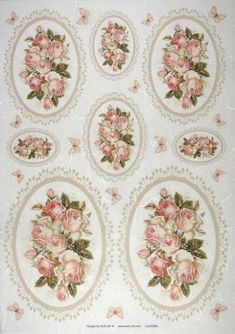 Rice Paper - Roses in Frames Decoupage Vintage, Decoupage Paper, Mod Podge Crafts, Decoupage Printables, Special Flowers, 3d Prints, Paper Roses, Rose Design, Rice Paper