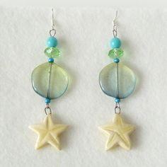 Boucles d'Oreilles Coquillages Etoiles, Bijou Plage Vacances, Bijou Ado Fille, Cadeau Femme : Boucles d'oreille par bleuluciole