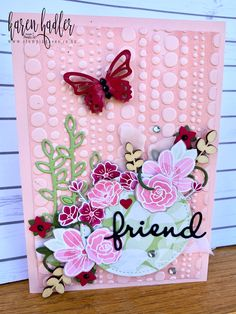 The card base I is Powder Pink and I used the Dot to Dot Textured Im… Dot Texture, Specialty Paper, Powder Pink, Embossing Folder, Free Items, Stampin Up Cards, Bees, Stamping, Card Making