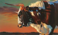Young Longhorn Bull Painting   by: Teresa Elliott.