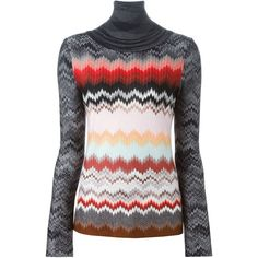 Missoni Zig Zag Knit Sweater ($729) ❤ liked on Polyvore featuring tops, sweaters, black, missoni, black knit top, knit sweater, multi colored sweater e colorful tops
