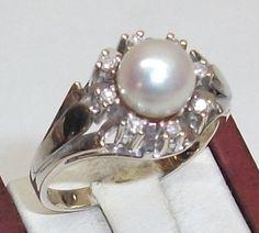 Vintage Ringe - 585er Diamantring N 016 Süßwasserperle 19 mm GR124 - ein…