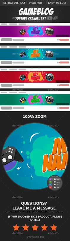 Gameblog YouTube Banners Template PSD