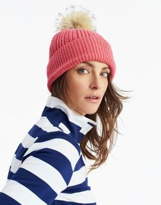 Joules UK BOBBLE Womens Hat Soft Coral