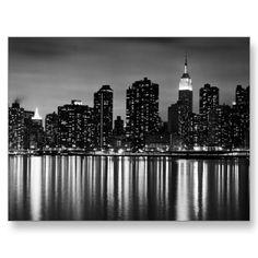 New York Skyline Black and White Postcard from http://www.zazzle.com/nyc+postcards