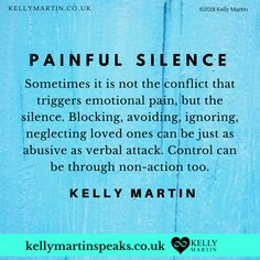 In relationships, friendships, business partnerships...any time we are relating to another, it's important that we are careful that we don't punish or try to control another by blocking through silence. It can be as painful as outer conflict and because there is no resolution often hardest to deal with. #quote #trust #relationships