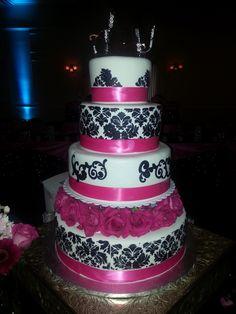 Calumet Bakery Damask details with Hot Pink Wedding Cake