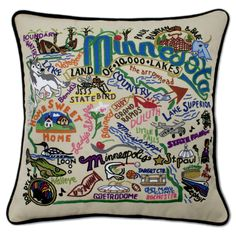 Minnesota Embroidered Pillow from southern|ELEVATION