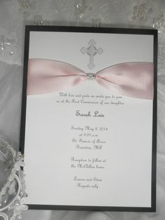 Christening/Baptism/First Communion Invitation- with Bows and Bling