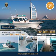 Hot Summer Offer on Luxury Yachts in Dubai.  Charter 41 Feet Yacht For 3 Hours and Get 1 Hour Free. Offer valid till 1st Sep 2017. For Booking +971 529440222 https://cozmoyachts.com/yachts/rent-41-feet-yacht-dubai #summer #deal #dubai #dubaimarina #yachtcharter #exclusive