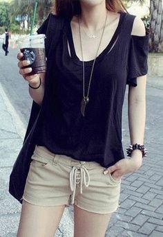 Off Shoulder Short Sleeve Cutout Scoop Neck T-shirt