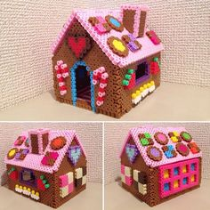 3D Gingerbread house - Christmas perler beads by hamuuuuuulove