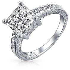 Bling Jewelry Bling Jewelry Sterling Silver 2.9ct Cz Princess Cut... (95 BRL) ❤ liked on Polyvore featuring jewelry, rings, silver, sterling silver engagement rings, cz engagement rings, cz rings, sterling silver cubic zirconia rings and sterling silver heart ring
