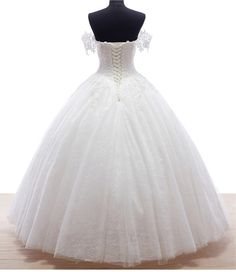 White Ivory Lace Up Princess Wedding Dress