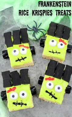 See how to easily make these Frankenstein Monster Rice Krispies Treats! Your kids will love them! These are perfect for class Halloween parties or just because.  #halloween2017 #halloween #halloweenfood #food