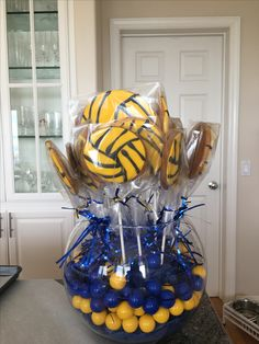 Waterpolo banquet centerpiece Cheer Banquet, Banquet Centerpieces, Volleyball Ideas, Swimming Party Ideas, Polo Team, Banquet Ideas, Water Polo, Swim Team, Coach Gifts
