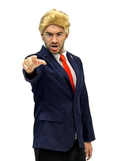 Trump and Clinton Halloween Costumes - Choose Edgy or Funny - Republican Trump Costume Jacket, Tie, Wig & Pin (S/M) Pikachu Mascot Costume, Mascot Costumes, Donald Trump Costume, Great Costume Ideas, Last Minute Halloween Costumes, Halloween Cosplay, Ordinary Day, Wigs