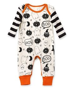Another great find on #zulily! Black Stripe & Tiny \'Boo\' Playsuit - Newborn & Infant #zulilyfinds