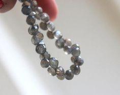 Deep Discount Sale Labradorite Gemstone Briolette Grey Faceted Onion 6mm 30 beads 1/2 Strand