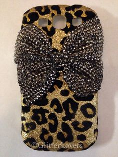 Cheetah glitter samsung galaxy s3 case with bow on Etsy, $20.00