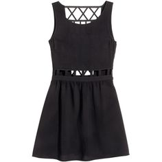 H&M Dress with Cut-outs $12.99 (€12) ❤ liked on Polyvore featuring dresses, h&m dresses, cutout dresses, viscose dress, cut out dresses and no sleeve dress