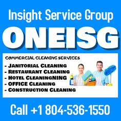 Insight Service Group provide fully bonded & insured reliable and trusted service with satisfaction assurance. Call our fully staffed office at to find out more. Commercial Cleaning Company, Cleaning Companies, Restaurant Cleaning, Construction Cleaning, Medical Dental, Best Commercials, Janitorial, Bathroom Cleaning, School S